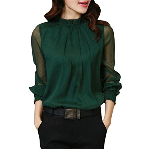 Toamen Mujeres Chiffon Elegante Suelta Volantes Manga Larga Blusa Camiseta Casual Tops (L, Verde)