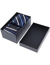 IPOTCH Kits de Corbata Formal Rayada, Pañuelo Cuadrado de Bolsillo, Pisacorbatas y Gemelos de Hombres para Fiesta Boda Cóctel