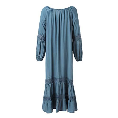 Sommerkleider Womens Holiday Lace Up Damen Sommer Pomisi Lose Strandparty Maxi-Kleid (L, Blau)