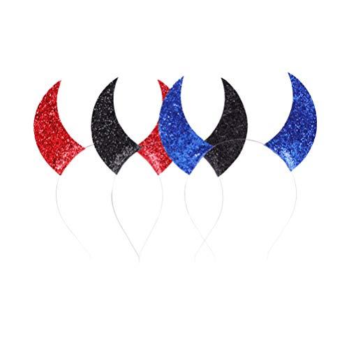 Kostüm Teufel Kopfband Hörner - Amosfun 6 Stück Teufelshorn Pailletten-Stirnband Kopfschmuck Maskerade Cosplay Requisite für Kinder (Rot Schwarz Blau)