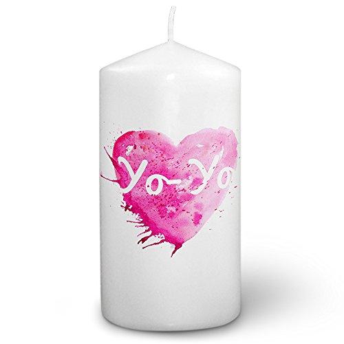 Kerze mit Namen Yo-Yo - Fotokerze mit Design Painted Heart - romantische Wachskerze, Taufkerze, Hochzeitskerze, Stumpenkerze