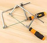 Sierra de mano multiusos, sierra para metales ajustable, herramienta de sierra de mano para madera ideal para trabajos de madera, cocina, vidrio, plástico, con 5 cuchillas