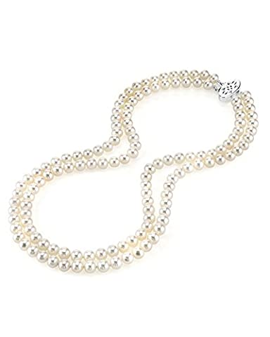 7.0-7.5mm White Freshwater Double Strand Cultured Pearl Necklace, 17-18