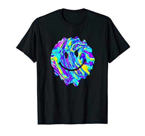 Funny Happy Melted Smiley Face Psychedelic LSD MDMA ACID T-Shirt - Happy Face Tee