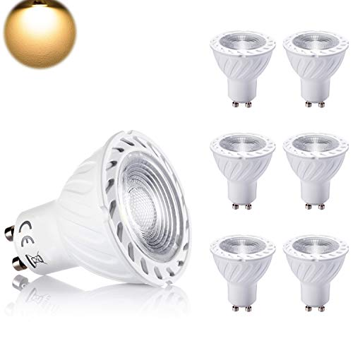 7W GU10 LED Lampen Warmweiss 650LM 3000K GU 10 Ersatz für 50Watt Halogenlampen 40 Grad Abstrahlwinkel LED Birnen LED Leuchtmittel Nicht-Dimmbar 6er Pack -