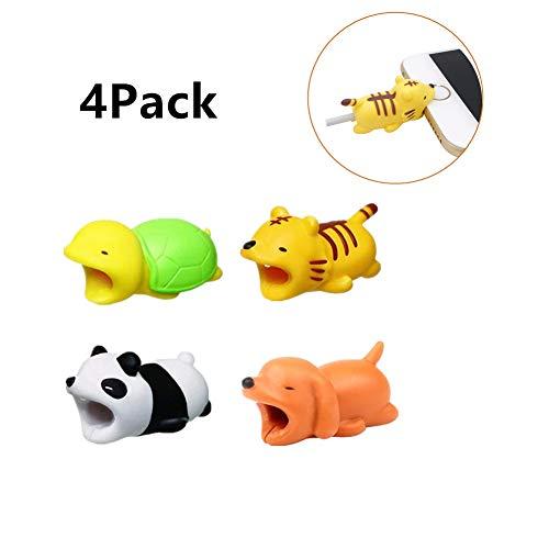 4 PCS iPhone Cavo Bite, Cavo Chompers, Cavo Dati Cavo Chewers Bite Protector,Cable Buddies Animal-Panda, Tigre, Puppy, Tartaruga
