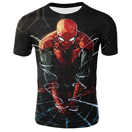 Lvvvs MäNnlich T-Shirt Spiderman Schlanke Kurze ÄRmel Fitness Freizeit Sweatshirt Outfit - Shirt Vintage Spiderman