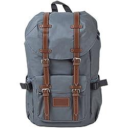 """Großer Rucksack mit 15"""" Laptopfach, für Damen und Herren, 22L Vintage Backpack - Montreal - lässiger unisex Daypack für Schule, Uni, Reisen, Wandern oder Camping von Ocean5 Grau/blaues Muster"""