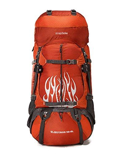 55 + 5L Bergsteigen Tasche Wasserdicht Camping Rucksack Für Männer Frauen Orange