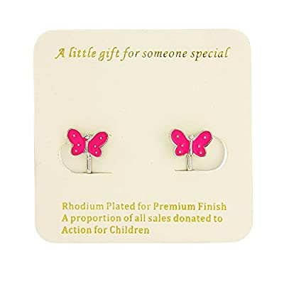 Signed With a Kiss Butterfly Clip on Earrings - Rhodium finish - Childrens earrings clip on includes organza bag
