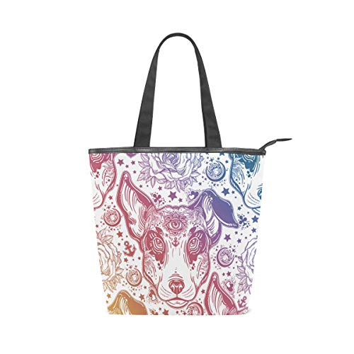 Bag Damen Shopper Top Griff Taschen Schultertaschen mit Reißverschluss Halloween Hund Sterne Mandala Herbst Herbst ()