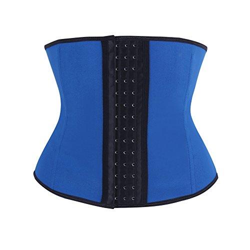FeelinGirl Damen Klassisch Gotik Volle Stahl Latex Taille Cincher 3 Haken Blau M