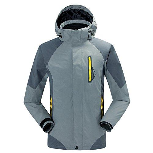 Dihope Femme Homme Jacket Veste Coupe-Vent 3-en-1 Imperméable Softshell à Capuche Doublé Polaire pour Ski Camping Randonnée Cyclisme Activité Gris