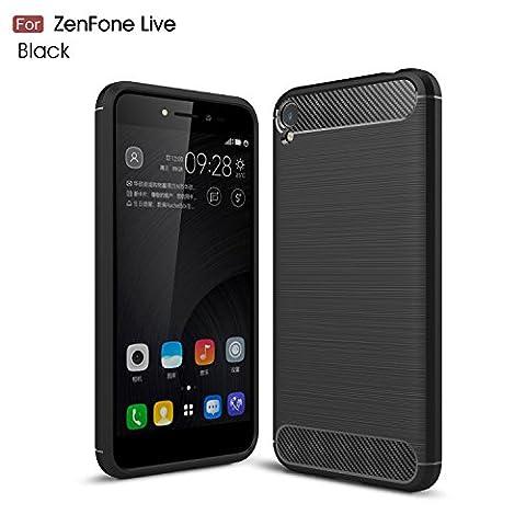 Coque Élégant Asus Zenfone Live ZB501KL,Coque ultra-mince style mode GOGME [Carbon Fiber Series] Flexible TPU ultra fin Armure, résistant aux chocs, anti-poussière, Anti-Scratch,parfaitement adapté à votre Asus Zenfone Live ZB501KL.(noir)