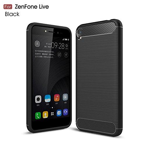 GOGME ASUS Zenfone Live ZB501KL Hülle,Stilvoller Fall Ultra dünne Handyhülle [Carbon Fiber Series] Flexibles TPU Anti-Scratch Super Weiche Schutzhülle, Smartphone & bietet idealen Schutz.schwarz