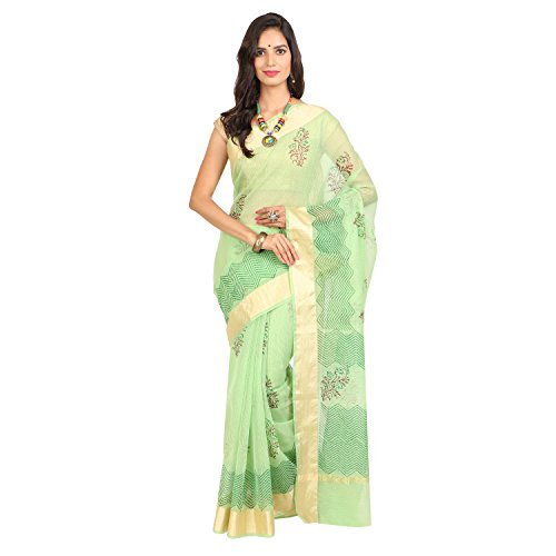Craftghar Kota Doria Cotton Light Green Saree with Zari border and Blouse...