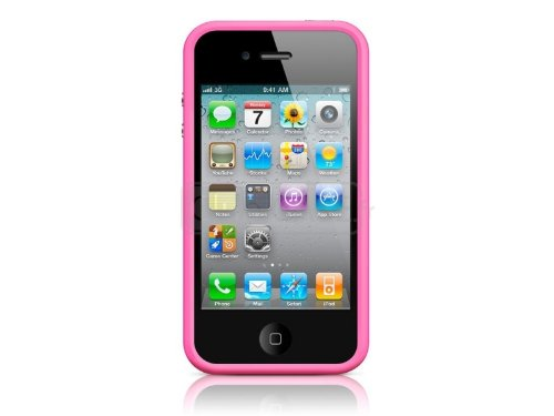 G4GADGET® Iphone 4S/4 Silicon Bumper White/Green 4S/4Pink