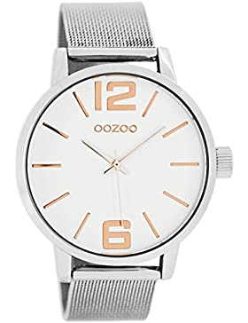 Oozoo Damenuhr mit Metallband 40 MM Weiss/Rose/Silber C7976