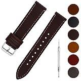 Fullmosa 6 Couleurs Bracelet de Montre en Cuir à l'huile, 14mm 16mm 18mm 20mm 22mm 24mm Bracelet Montre Retro avec Goupille à Dégagement Rapide, 20mm café+Boucle en Argent