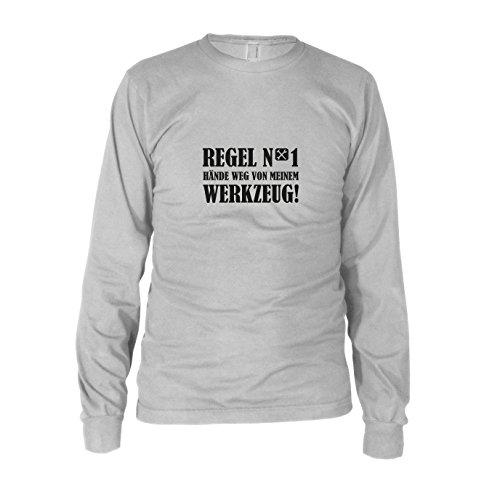 (Hände weg von meinem Werkzeug - Herren Langarm T-Shirt, Größe: XL, Farbe: weiß)