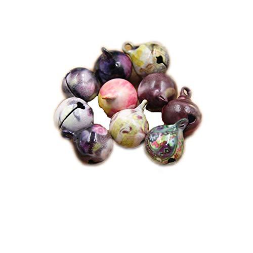 Azsunnyshow 10 Stück Multi Blume Jingle Glells Lose Perlen für Weihnachtsbaum/Hunde-Anhänger, Dekoration, Basteln, Zubehör Festival Party Supplies -