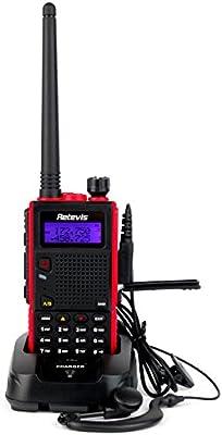 Retevis RT5 Walkie-Talkie Doble Banda VHF136-174MHz + UHF400-520MHz 8W 128 Canales VOX FM Radio DTMF 1750Hz Tono Radio Transmisor Negro (borde rojo)
