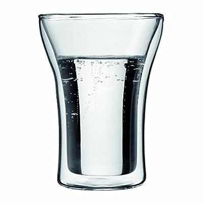Bodum 1801-16 Assam Théière à Piston Filtre inox Finition Inox Brillant 1 L + Set de 2 verres Double Paroi 0,25 L