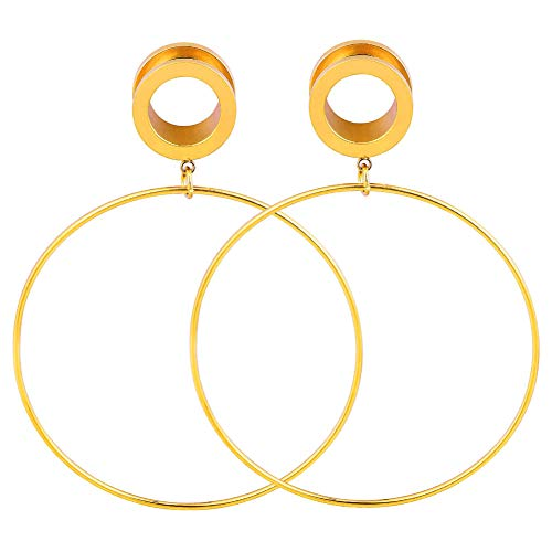 Longbeuaty Hoop Earrings Plug Ear Stretcher Expander Piercing Schmuck Gold 20mm (16-gauge-gold Earring Hoop)
