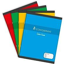 Conquerant - Cahier de Brouilllon - Petit Format - 17 x 22 cm - 96 pages Seyes - Coloris Aléatoire