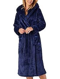 9ba243e8d6 Slenderella Ladies Luxury Thick Flannel Fleece Dressing Gown Hooded Wrap  Bath Robe (Small - XXL