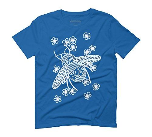 Bees Papercut Men's Graphic T-Shirt - Design By Humans Royal Blue