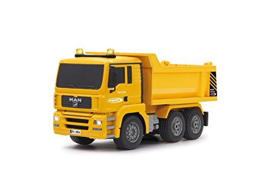 RC Auto kaufen Baufahrzeug Bild: Jamara 405002 - Muldenkipper MAN 1:20 2,4G - Kippmulde hoch / runter, realistischer Motorsound, Hupe, Rückfahrwarnsound, 4 Radantrieb, gelbe LED Signallichter, programmierbare Funktionen*