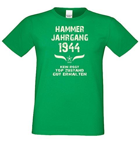 Modisches 73. Jahre Fun T-Shirt zum Männer-Geburtstag Hammer Jahrgang 1944 Ideale Geschenkidee zum Jubeltag Farbe: hellgrün Hellgrün