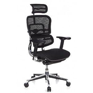 hjh OFFICE 652111 silla de oficina ERGOHUMAN tejido de malla negro, alta calidad, amplios ajustes, sólido aluminio pulido, ergonómico, sillón alta gama