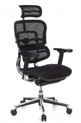 hjh OFFICE 652111 Bürostuhl Chefsessel ERGOHUMAN Netzstoff, schwarz, individuelle Einstellmöglichkeiten, robuster Netzstoff, Bürodrehstuhl ergonomisch, verstellbare Armlehnen, Schreibtischstuhl, Drehstuhl