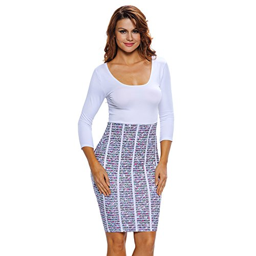 PU&PU Formel / travail / parti Stripe femmes Print taille haute Midi Dress, tour de cou trois-quarts manches Multicolore