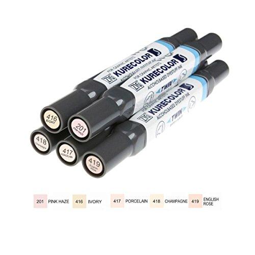 zig-kurecolor-kc3000-twin-marker-pen-5-piece-set-skin-tones-type-2