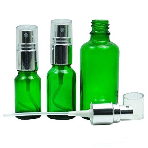 100 pièces vides bouteilles de pulvérisation de verre vert avec de l'argent atomiseur Cap bouteilles réutilisables d'huiles essentielles gros Boston Round bouteille de parfum 30 ML