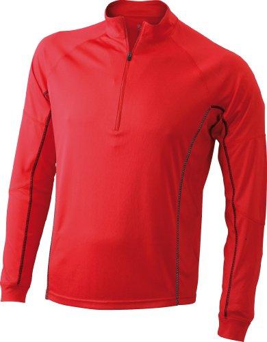 James & Nicholson Herren Langarmshirt Running Reflex Shirt Red/Black