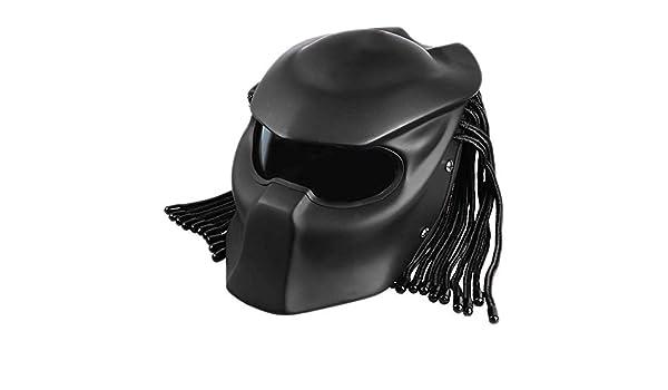 Predator Jagged Warrior Front Flip Open Casques D.O.T Certifi/é Conduite de la Moto Masque Scorpion R/étro Cross-Country Tresses frang/ées Casque LED