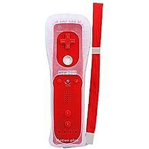 mando a distancia con más funda de silicona para wii / wii u (rojo)