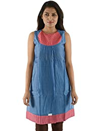 Bhusattva Women's Loose Fit Tunic (SW 2807, Pink and Blue, M)