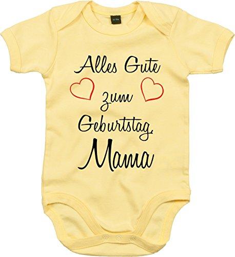 Mister Merchandise Baby Body Alles gute zum Geburtstag, Mama Strampler liebevoll bedruckt Glückwunsch Gelb, 3-6