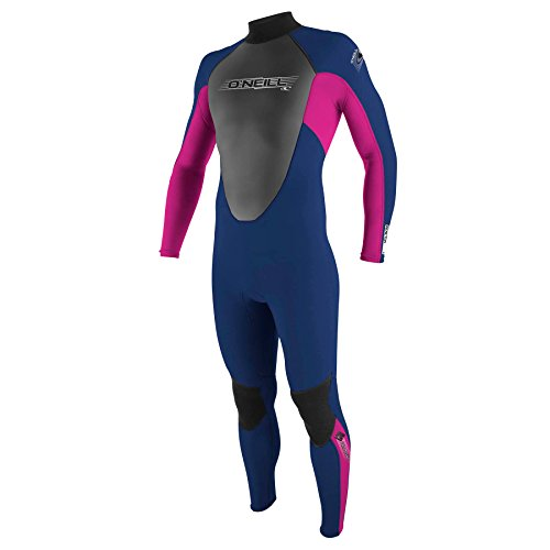 O'Neill Girls' Reactor 3/2 Full Wetsuit-Navy/Punkpink, 10 Years