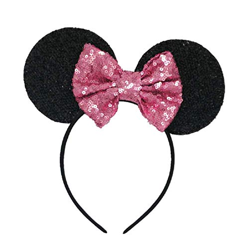 Inception pro infinite Schwarzes Stirnband mit Pailletten Minnie Mouse rosa Schleife - Kostüm Halloween Karneval Mädchen