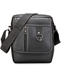 Fashionable PU Black Leather Cross Body Sling Bag For Men, Women & Girls By Bagris GE01001239