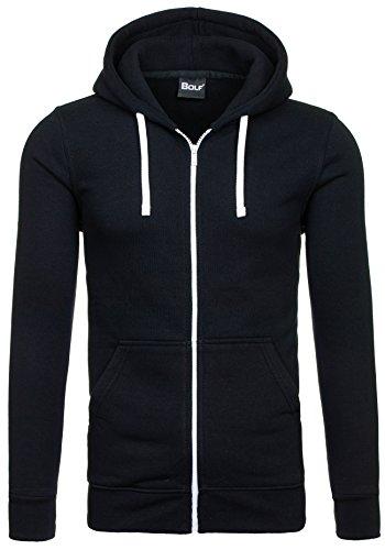 BOLF – Sweat-shirt á capuche – Fermeture éclair– BOLF 60S – Homme Noir