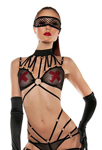 Starline Damen Strappy Mesh Neckholder Body 4-teilig mit Maske - Schwarz - Small/Medium Strappy 4