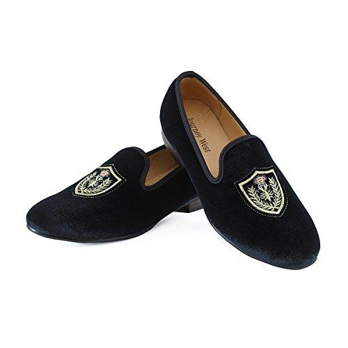 Journey West Uomo Annata Ricamo Nobile Velluto Mocassino Scarpe Slip-On Loafer Pantofole per Fumatori Nero/Rosso/Blu Distintivo Nero