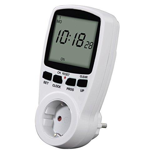Hama Digitale Zeitschaltuhr (Premium mit Kindersicherung, Zufallsfunktion, extra großes und unbeleuchtetes Display) weiß